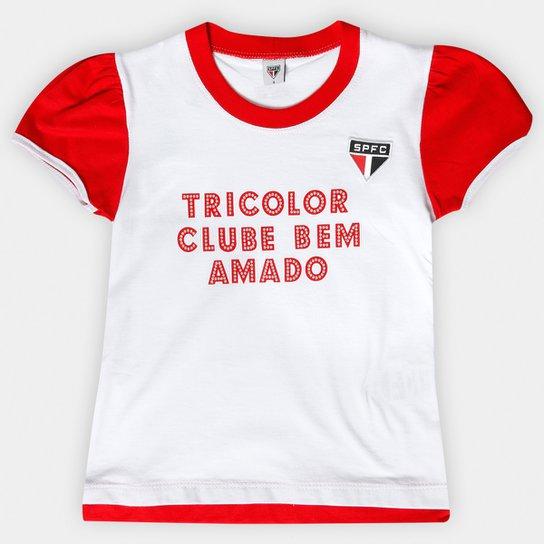 043d87eb7b2 Baby Look São Paulo Infantil Texto Glitter - Branco+Vermelho