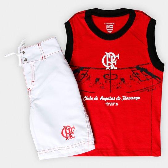 Conjunto Flamengo Infantil Bermuda e Regata - Vermelho e Branco ... 66d74512566df