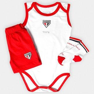 3c93f9ffed Conjunto São Paulo Infantil Body Regata Shorts e Meia