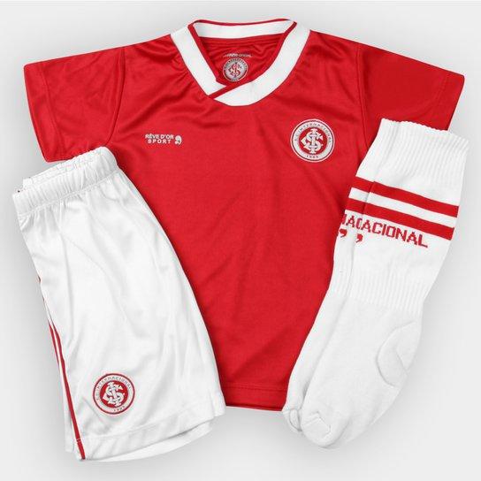 887d20d008 Conjunto Internacional Infantil Dry Uniforme Campo - Vermelho+Branco