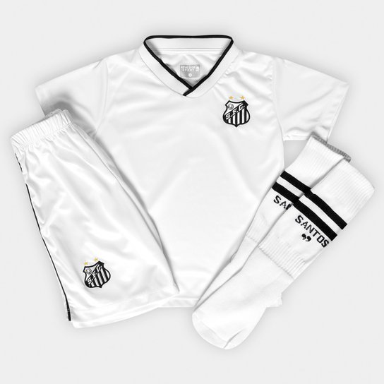 e8227880df695 Conjunto Dry Uniforme Campo Santos Infantil - Branco - Compre Agora ...
