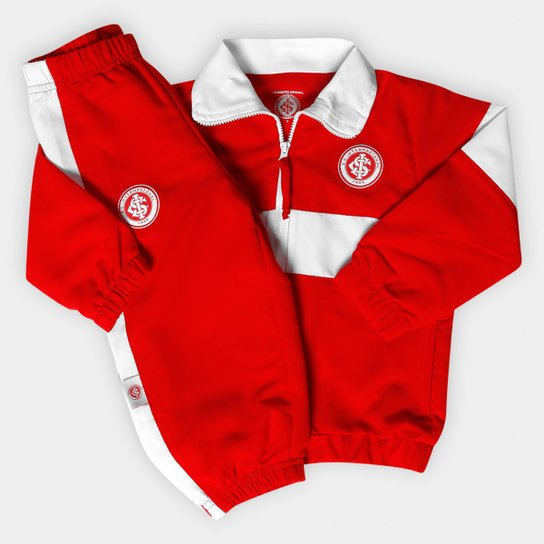 Conjunto Esportivo Internacional Infantil Microfibra - Vermelho+Branco b4c23047fd7