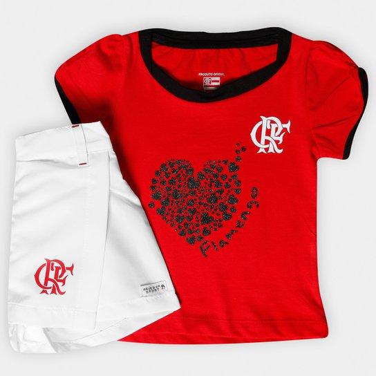 b70c87267f Conjunto Flamengo Infantil Short Saia - Vermelho+Branco