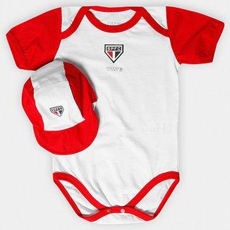 Kit São Paulo Infantil Body Bicolor e Boné 30d31476df5
