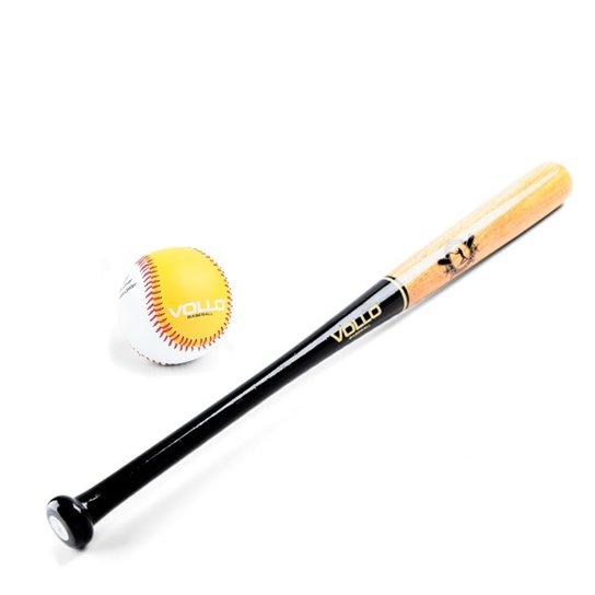 8c31fe73d0 Kit Taco De Baseball De Madeira Com Bola Miolo Borracha - Vollo - Preto+ Marrom