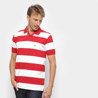 eb51c204e4 Camisa Polo Tommy Hilfiger Listrada Block Stripe Regular Masculina