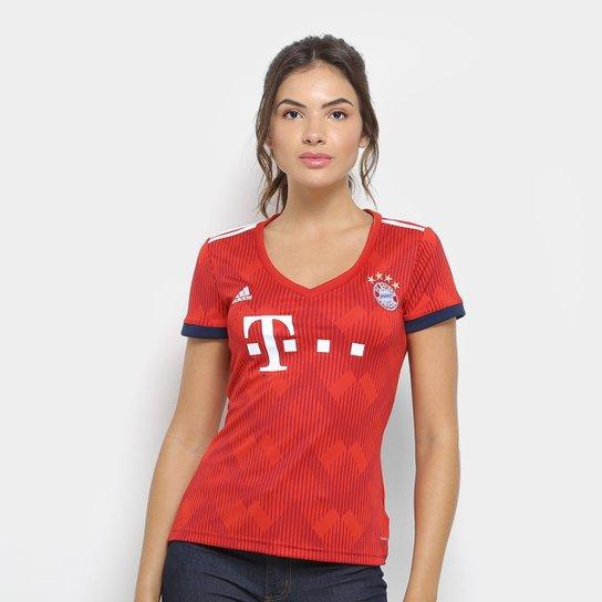 d3ca2df4ed471 Camisa Bayern de Munique Home 2018 s n° - Torcedor Adidas Feminina -  Vermelho