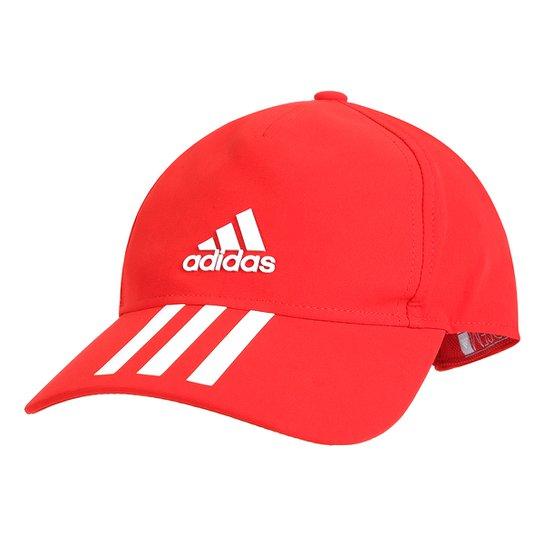 7689637388302 Boné Adidas Aba Curva C40 6P 3 Stripes Aba Curva - Vermelho e Branco ...