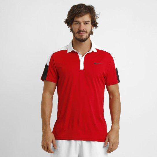 Camisa Polo Nike Team Court - Vermelho+Branco cd5cbc3d6e956