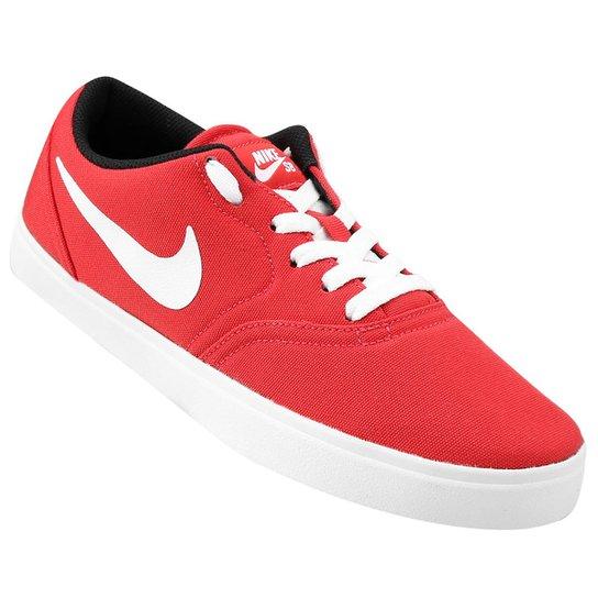 7f42371d34ce4 Tênis Nike SB Check Canvas - Vermelho+Branco