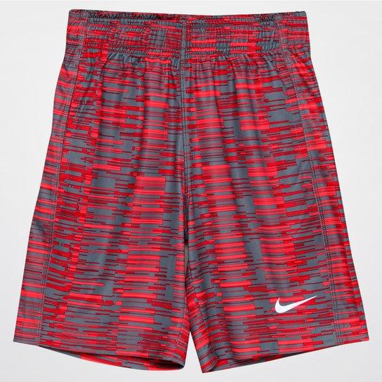 ce2660f8ea6 Short Nike Fly Allover Print Infantil - Cinza+Vermelho