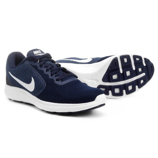 be8655e35e Tênis Nike Revolution 3 Masculino - Marinho e Branco - Compre Agora ...