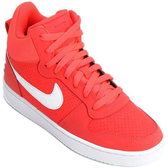 d923c52b6cd Tênis Couro Cano Alto Nike Recreation Mid Feminino - Vermelho+Branco