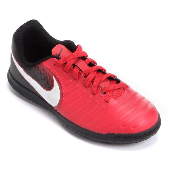 90291c06a Chuteira Futsal Infantil Nike Tiempo Rio 4 IC - Vermelho+Branco