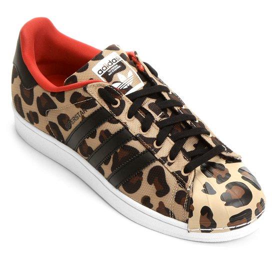 bfa0c3fd4bb Tênis Adidas Superstar Toe Pack - Marrom Claro+Preto
