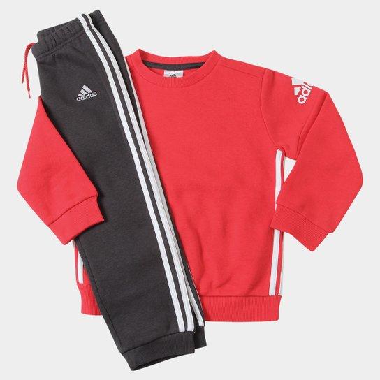 253b4a2978d83 Conjunto de Moletom Infantil Adidas Baby - Vermelho e Branco ...