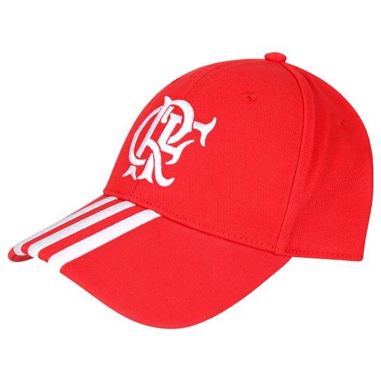 Boné Flamengo 3S Adidas Aba Curva - Vermelho+Branco 420b8e619ebb2