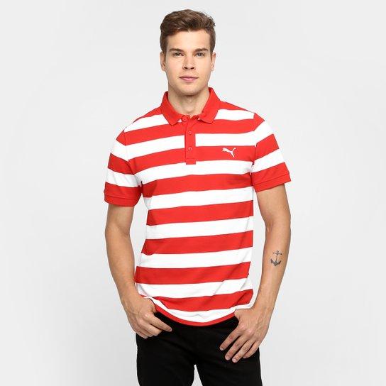 Camisa Polo Puma Ess Striped Pique - Vermelho+Branco c0dee01e857ab