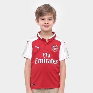 Camisa Arsenal Infantil Home 17 18 s n° Torcedor Puma 360dd5af393