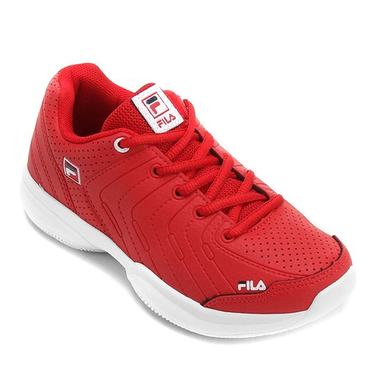 14ad233d163 Tênis Infantil Fila Lugano 5.0 Masculino - Vermelho+Branco