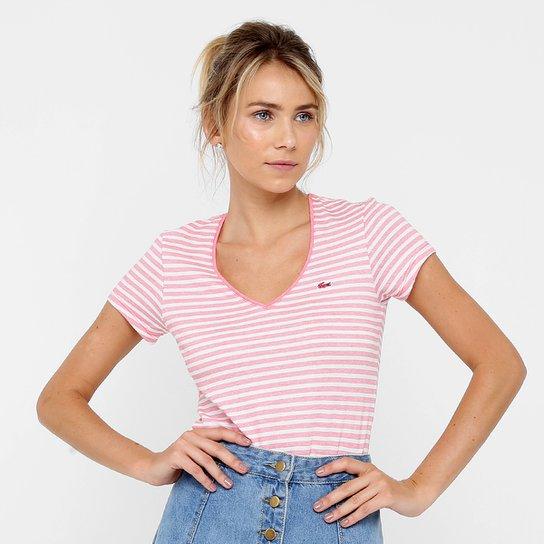 Camiseta Lacoste Listrada Feminina - Compre Agora   Netshoes 5633630666