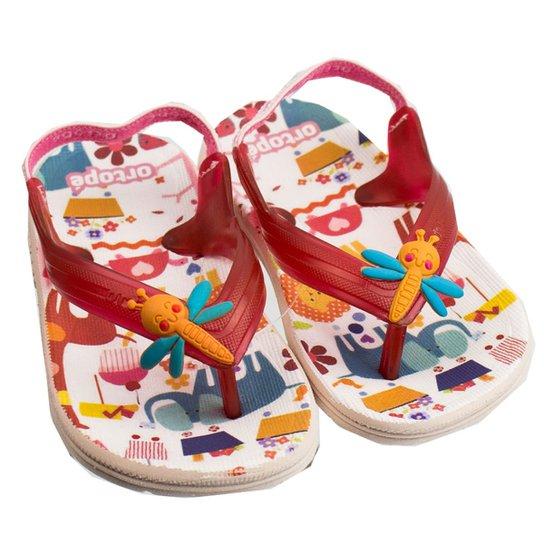 5a7a3899b8c81 Chinelo Infantil Feminino Ortopé Aqua Flex PVC 2107126 - Vermelho+Branco