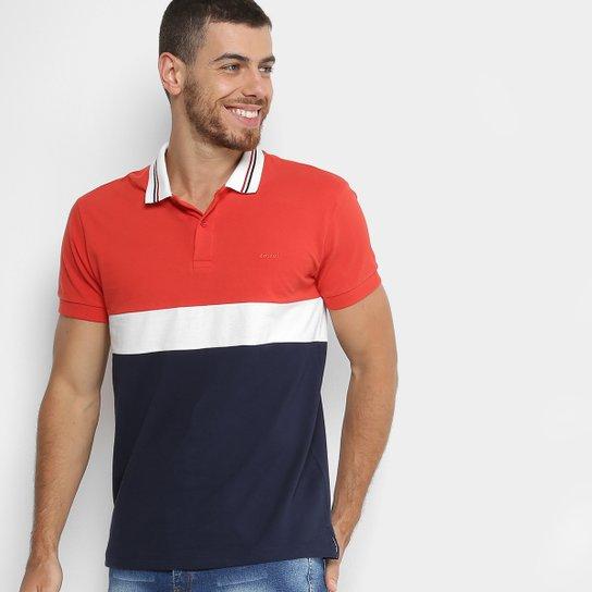 6fc9cb2c50 Camisa Polo Colcci Recorte Masculina - Vermelho+Branco