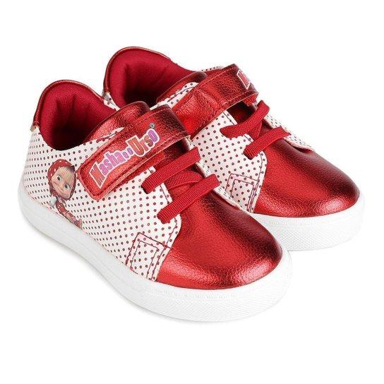 Tênis Infantil Pé com Pé Masha Urso Velcro Feminino - Vermelho+Branco 95354df278c6a