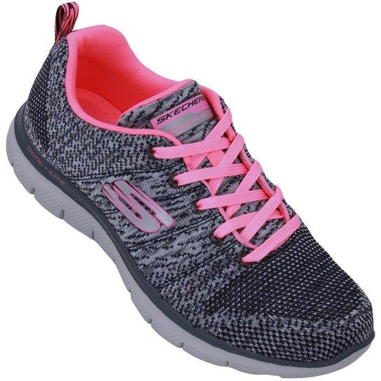 96f7a25e93e Tênis Skechers Flex Appeal 2.0 High Energy Feminino - Grafite e Pink ...