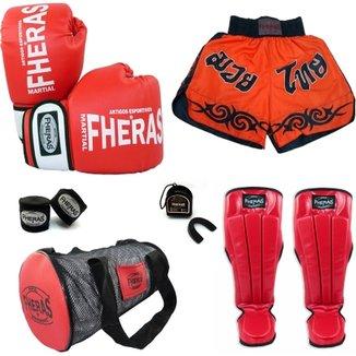 3b2b4c996 Kit Muay Thai Oríon Luva Bandagem Bucal Caneleira Bolsa Shorts 08 OZ
