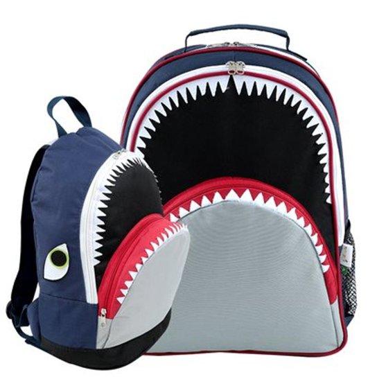 b6c28fa55 Kit Infantil Mochila Escolar Mumagi + Mochila Passeio Tubarão Tuba Masculino  - Marinho+Cinza
