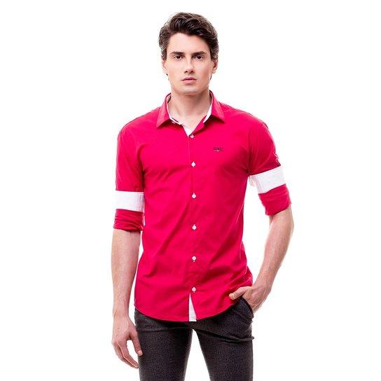 80a4cdc8c1 Camisa Social Hat Trick São Paulo - Vermelho e Branco - Compre Agora ...