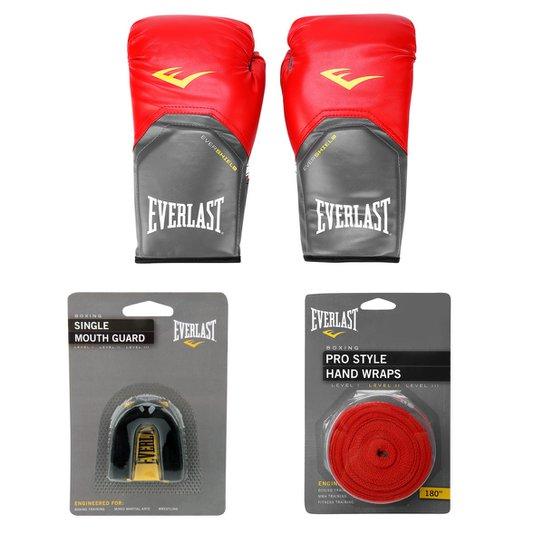 226086030 Kit Everlast Luva de Boxe Muay Thai Pro Style - 14 oz + Bandagem Elástica