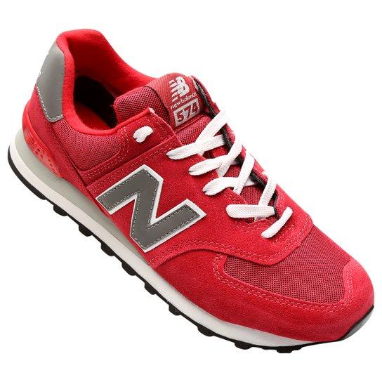 85d0581e6ba Tênis New Balance 574 Core - Vermelho+Cinza
