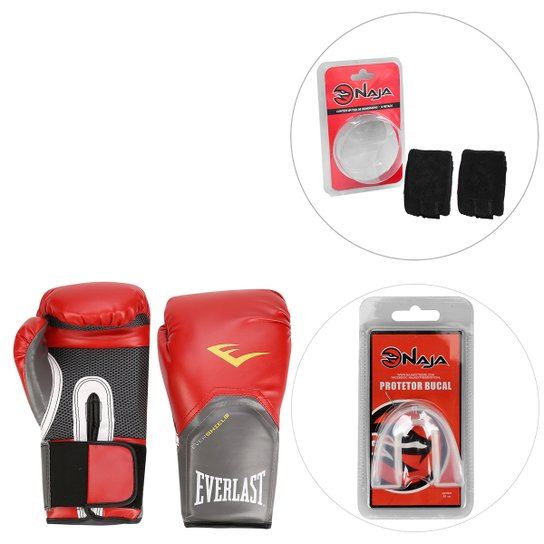 d24fe747b Kit Luva de Boxe Everlast Pro Style - 12 oz + Bandagem + Protetor Bucal Naja