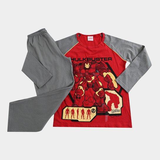 c35b8bf8d Pijama Infantil Evanilda Homem De Ferro Marvel Longo Masculino -  Vermelho+Cinza
