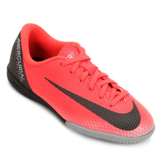 Chuteira Futsal Infantil Nike Vapor 12 Academy GS CR7 IC - Vermelho+Cinza 9eaaf21e246c7