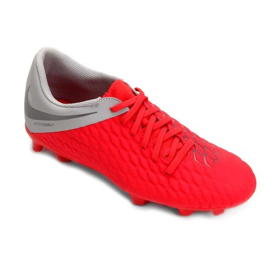 d017fc56f Chuteira Campo Nike Hypervenom Phantom 3 Club FG - Vermelho+Cinza