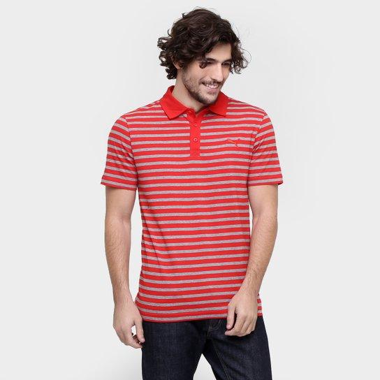 4ddf249104 Camisa Polo Puma Ess Striped - Vermelho+Cinza