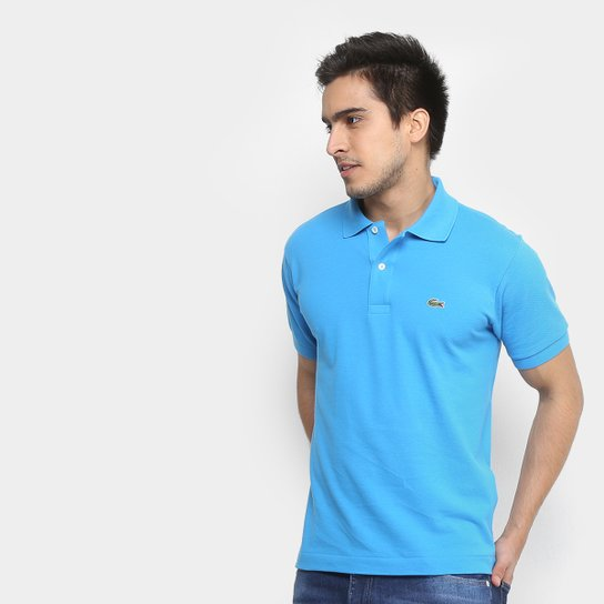 20cd07cada4c0 Camisa Polo Lacoste Piquet Original Fit Masculina - Azul Piscina+Branco
