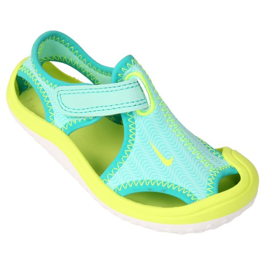 fb49873b7cf Sandália Nike Sunray Protect GT Infantil - Azul+Verde Limão
