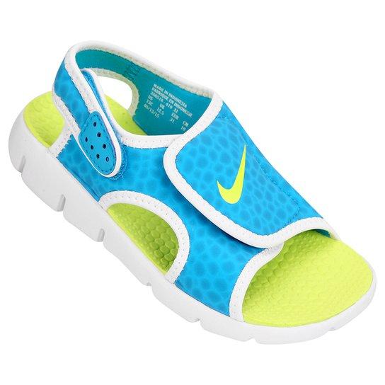 59b30deaf2 Sandália Infantil Nike Sunray Adjust 4 - Azul Piscina e Verde Limão ...