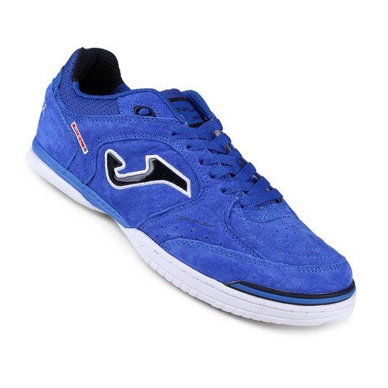 8b3574b3c4 Chuteira Futsal Joma Top Flex - Azul e Branco