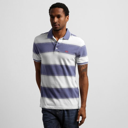 Camisa Polo Levi s Mod Std Pique - Azul+Branco ... 4a5aff4a19f