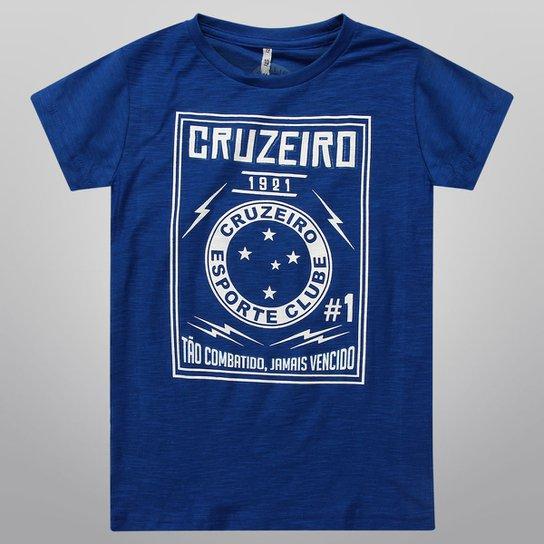 c43e40c8f6 Camiseta Cruzeiro Tão Combatido Jamais Vencido Juvenil - Azul+Branco