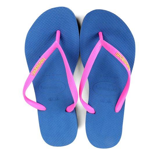 5cacfe9bc Sandália Havaianas Slim Logo Pop-Up Feminina - Azul e Branco ...