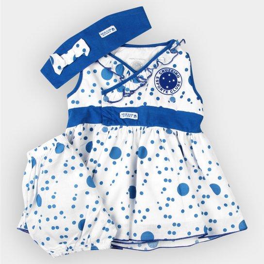 f3f9aac5594e Vestido Bolinhas c/ Calcinha e Tiara Cruzeiro Bebê - Azul+Branco