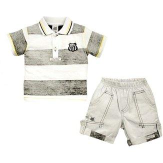 Conjunto Polo Shorts Meia Malha Oxford Menino Santos Reve Dor - 3 Anos f550cb4267d71