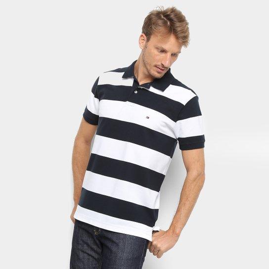 bacfe59006 Camisa Polo Tommy Hilfiger Estampa Listrada Block Stripe Regular Masculina  - Azul+Branco