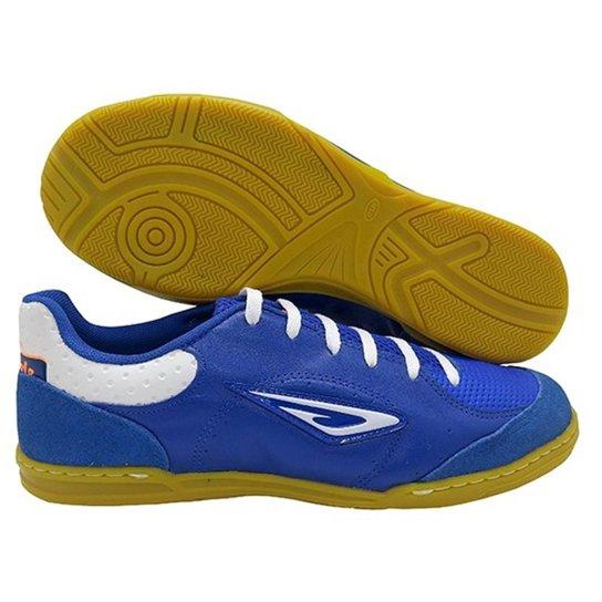 686e0c2bb86 Chuteira Futsal Diavolo Star Couro Masculina - Azul e Branco ...